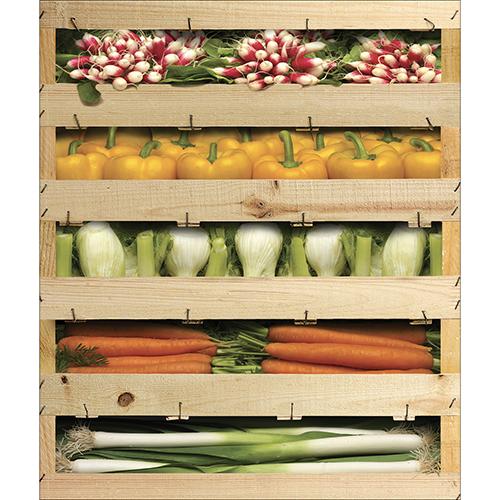 Autocollant décoration lave vaisselle caisses de légumes