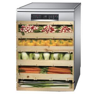 Sticker adhésif déco lave vaisselle en inox gris caisses de légumes