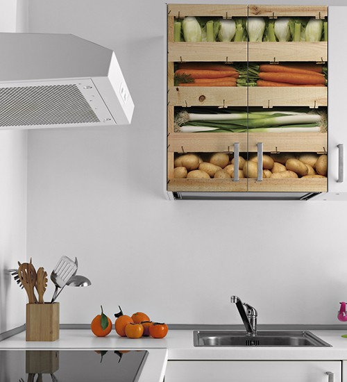 Sticker autocollant caisses de légumes pour décoration placard de cuisine moderne