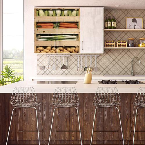 Sticker adhésif déco placard haut de cuisine caisses de légumes