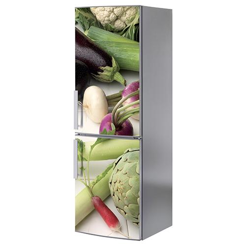 Adhésif légumes verts pour déco de frigo en inox gris