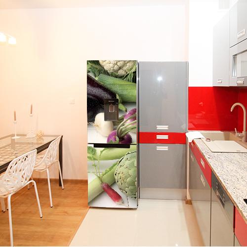 Autocollant décoration cuisine rouge et grise légumes verts pour frigo