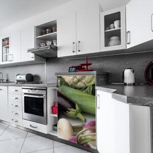 Adhésif collable légumes d'hiver pour déco de frigo de cuisine moderne grise et blanche