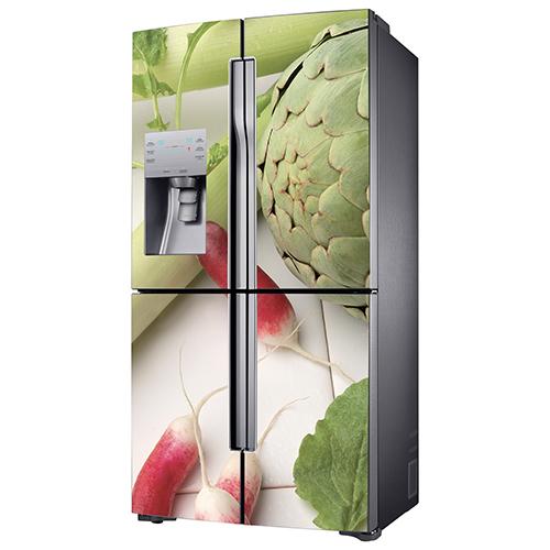 Adhésif pour frigo américain en inox gris légumes verts
