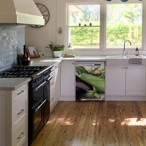 Sticker autocollant pour cuisine blanche légumes verts pour décoration de lave vaisselle