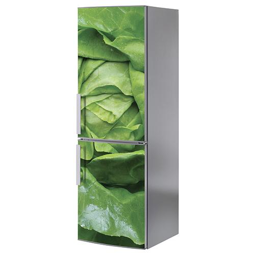 Adhésif salade verte pour décoration de frigo en inox gris