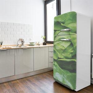Autocollant décoration salade verte pour frigo blanc de cuisine