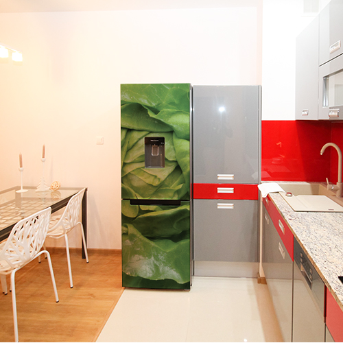 Autocollant décoration salade verte pour frigo de cuisine rouge et grise
