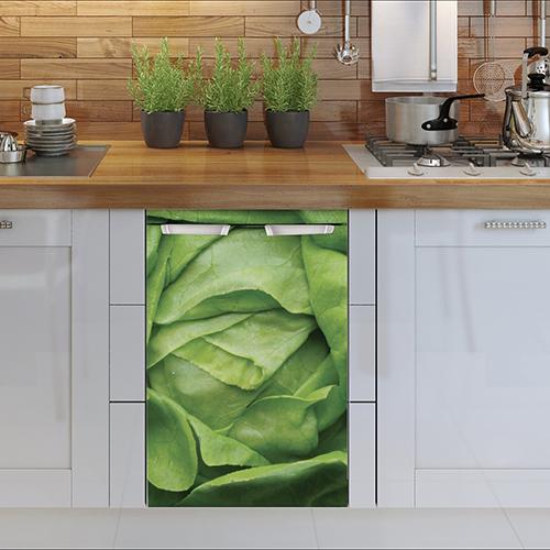 Autocollant sticker salade verte décoration de lave vaisselle cuisine en bois