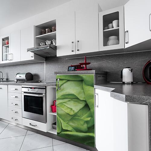 Sticker adhésif déco de frigo salade verte cuisine moderne blanche et grise