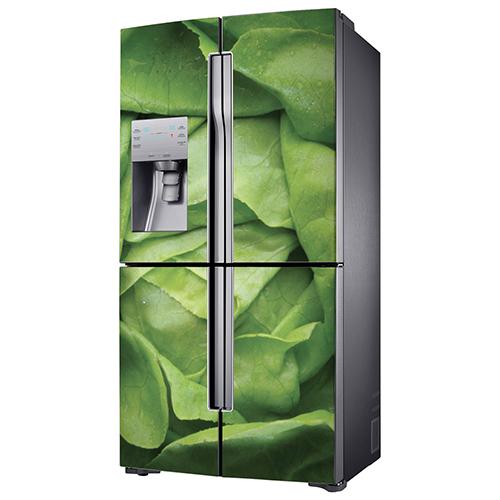 Autocollant salade verte pour décoration de frigo américain en inox gris