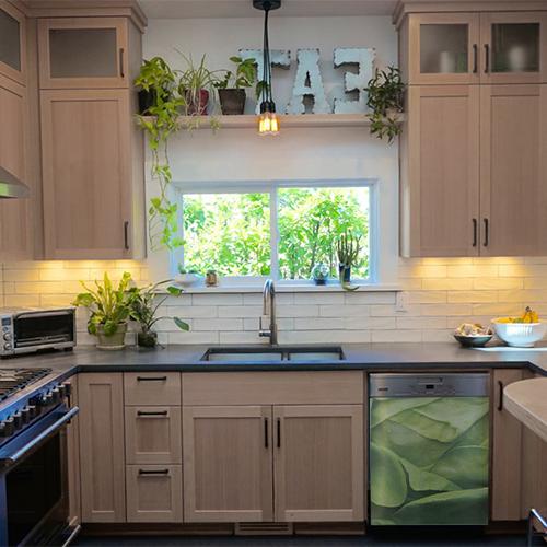 Sticker autocollant pour décoration de lave vaisselle salade verte cuisine en bois
