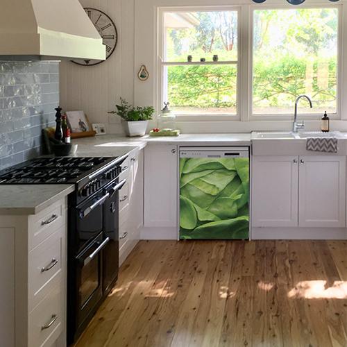 Sticker adhésif pour déco de cuisine blanche et de lave vaisselle salade verte