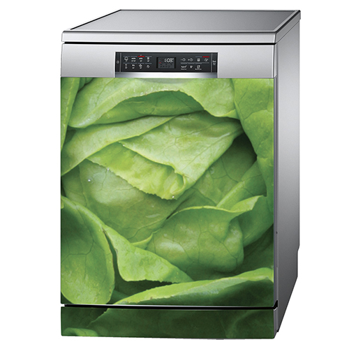 Autcollant salade verte pour déco de lave vaisselle en inox gris