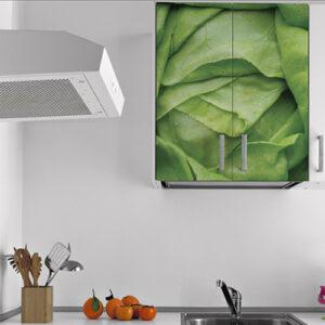 Sticker autocollant déco de placard haut de cuisine blanche salade verte