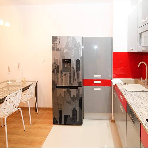 Autocollant pour décoration cuisine rouge et frigo en inox new york