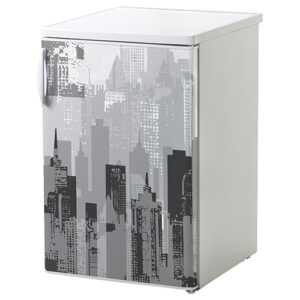 Adhésif pour petit frigo blanc décoration new-york gris