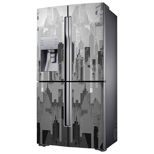 Adhésif new-york pour déco de frigo américain en inox gris
