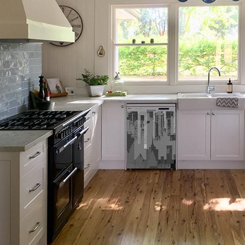 Adhésif pour lave vaisselle de cuisine blanche moderne décoration new-york