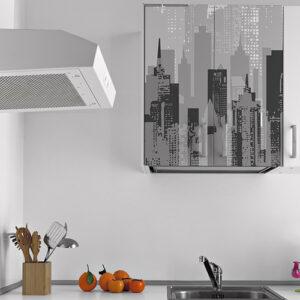 Sticker déco de placard de cuisine haut blanc adhésif new-york gris