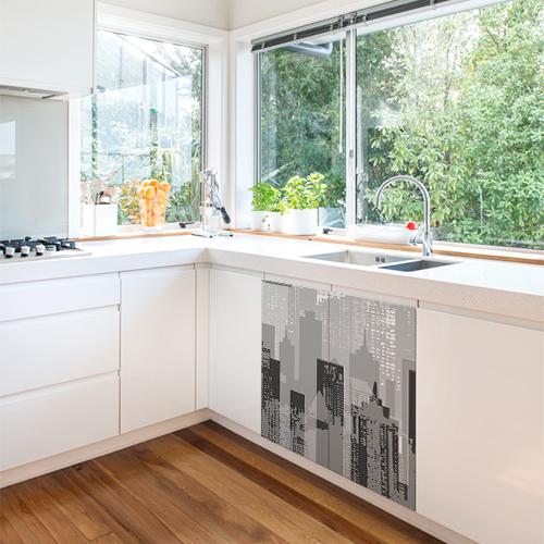Sticker autocollant new-york pour déco de meubles de cuisine blanche moderne