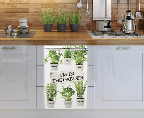 Sticker herbes aromatiques pour décoration de petit frigo de cuisine