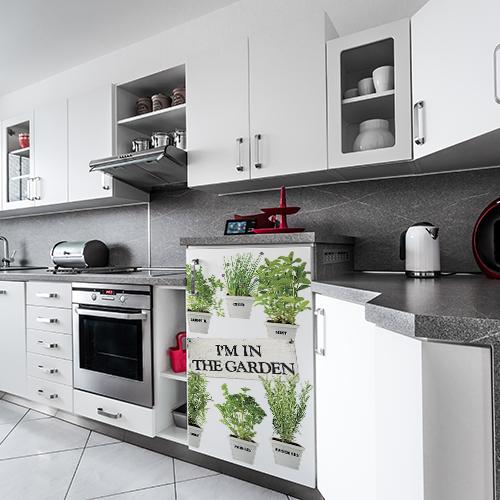 Sticker autocollant décoration petit frigo herbes aromatiques pour cuisine moderne blanche et grise