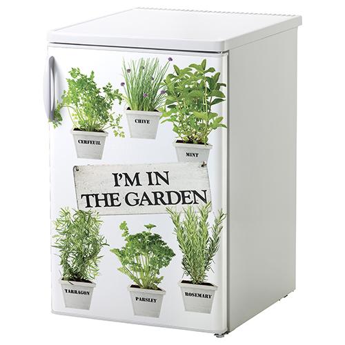 Adhésif décoration pour petit frigo blanc d'herbes aromatiques
