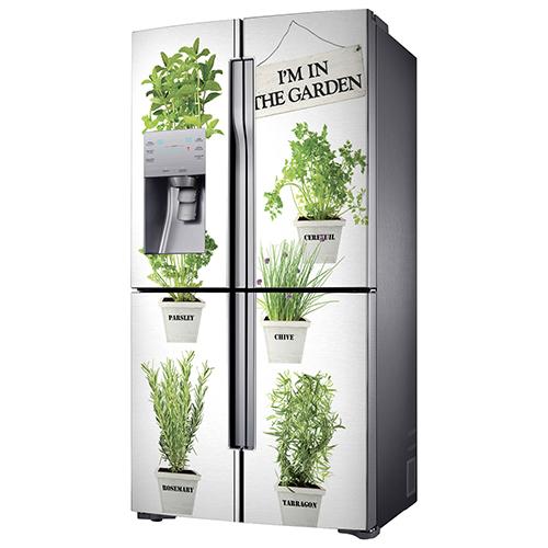 Sticker adhésif pour frigo américian en inox déco herbes aromatiques