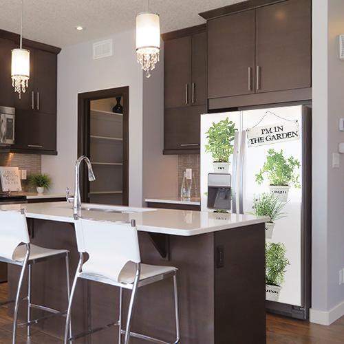 Autocollant décoration frigo américain herbes aromatiques pour cuisine moderne