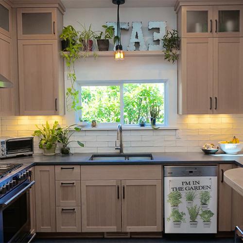 Adhésif décoration pour lave vaisselle et cuisine en bois herbes aromatiques