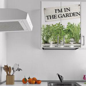 Sticker autocollant pour placard de cuisine blanche plantes aromatiques