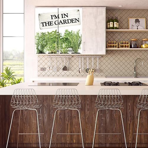 Sticker adhésif plantes aromatiques pour placard haut decoration cuisine vintage
