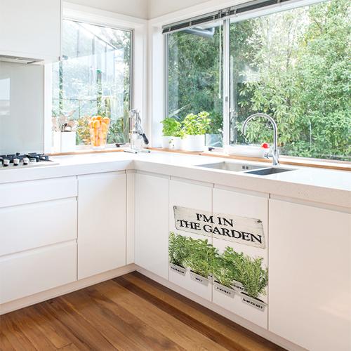 Autocollant pour décoration de meuble bas de cuisine sticker herbes aromatiques