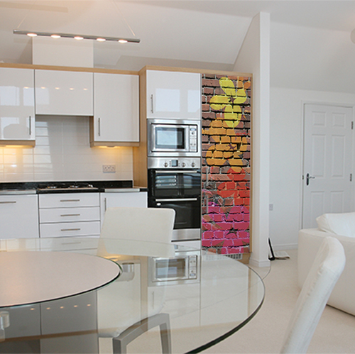 Adhésif colorés mur de briques effet street fleurs pour décoration de frigo de cuisine moderne
