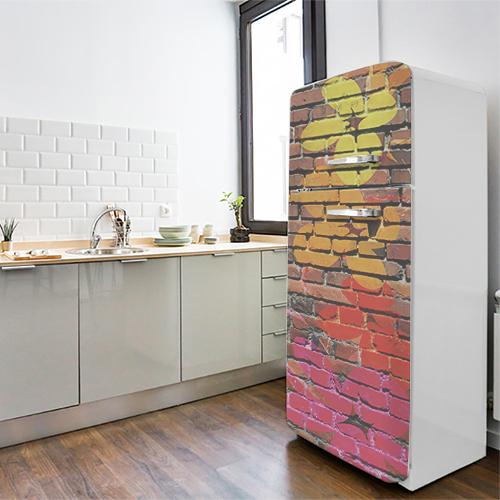 Sticker autocollant déco briques street fleurs colorés pour frigo blanc de cuisine