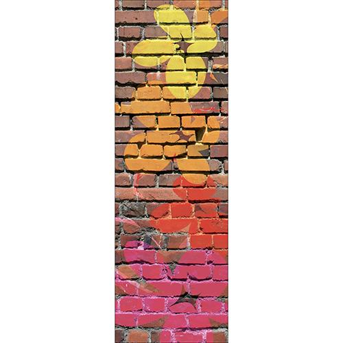 Sticker briques street fleurs pour déco de frigo de cuisine