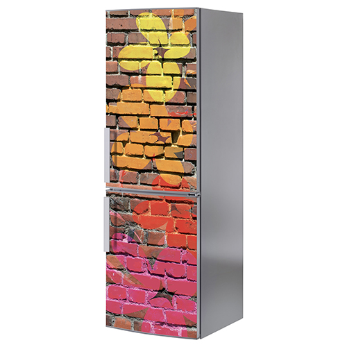 Sticker adhésif déco frigo en inox gris sticker briques street fleurs colorés