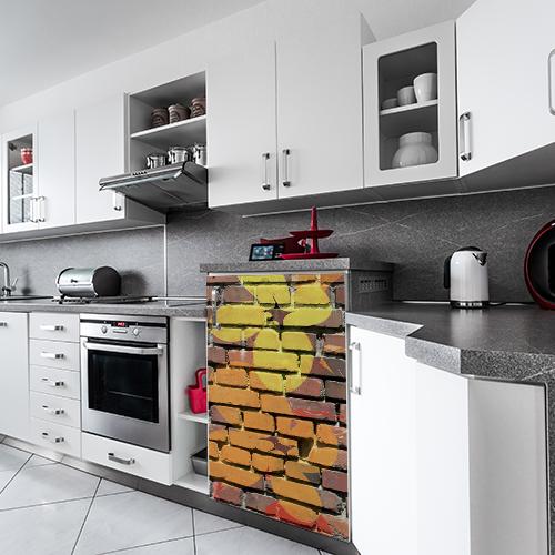 Autocollant déco cuisine blanche et grise sticker mur de briques de fleurs colorés