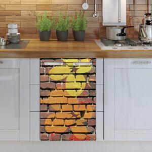 Sticker autocollant pour petit frigo mur briques déco fleurs jaune et orange