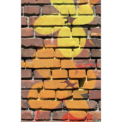 Sticker mur briques déco fleurs pour lave vaisselle de cuisine