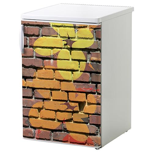 Adhésif mur de briques colorés décoration pour petit frigo blanc