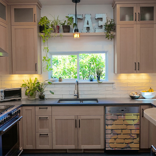 Sticker autocollant mur de briques pour décoration lave vaisselle de cuisine en bois