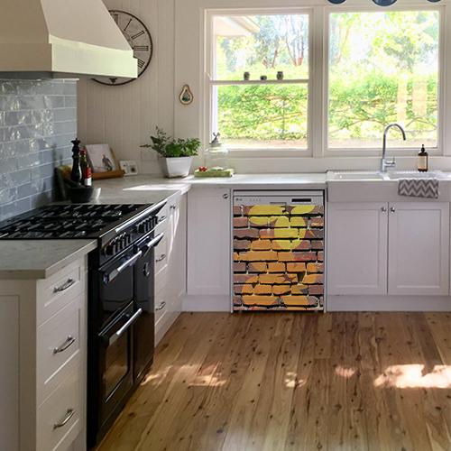 Adhésif sticker pour lave vaisselle dans une cuisine moderne déco mur de briques