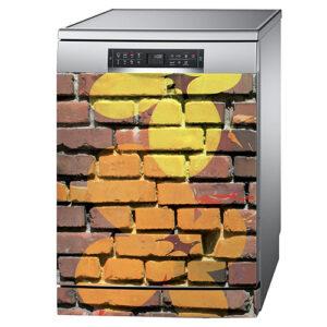 Autocollant déco mur de briques orange pour lave vaisselle en inox