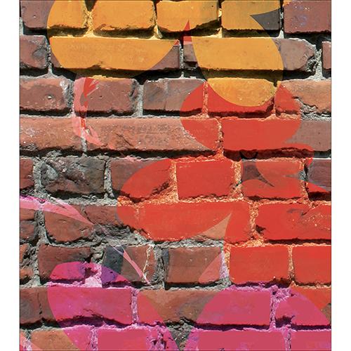 Sticker mur briques fleurs de couleurs pour déco de placard de cuisine