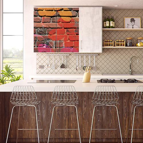 Adhésif pour cuisine vintage déco meuble de cuisine haut mur de briques multicouleurs