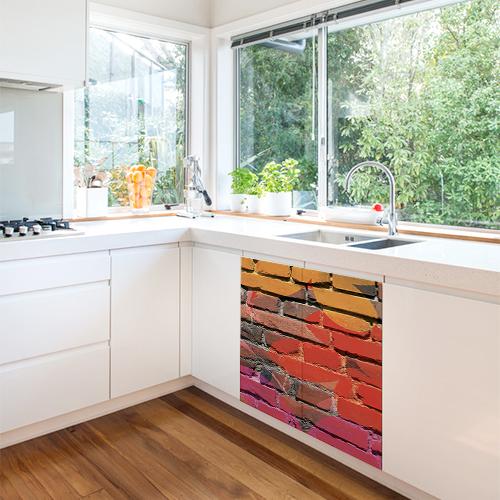 Autocollant decoration de meuble bas de cuisine moderne sticker mur de briques multicouleurs