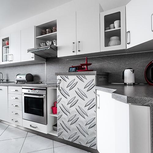 Sticker autocollant grain de riz gris pour déco de petit frigo dans une cuisine moderne