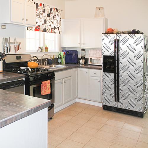 Sticker autocollant pour frigo en inox gris décoration grain de riz